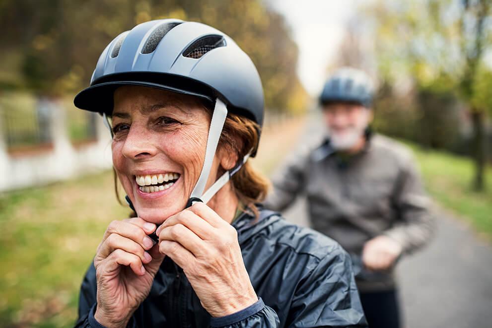Mature woman biker