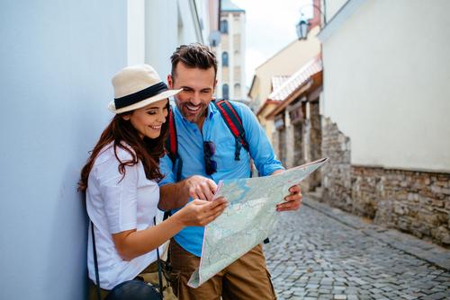 Man and Woman looking at map